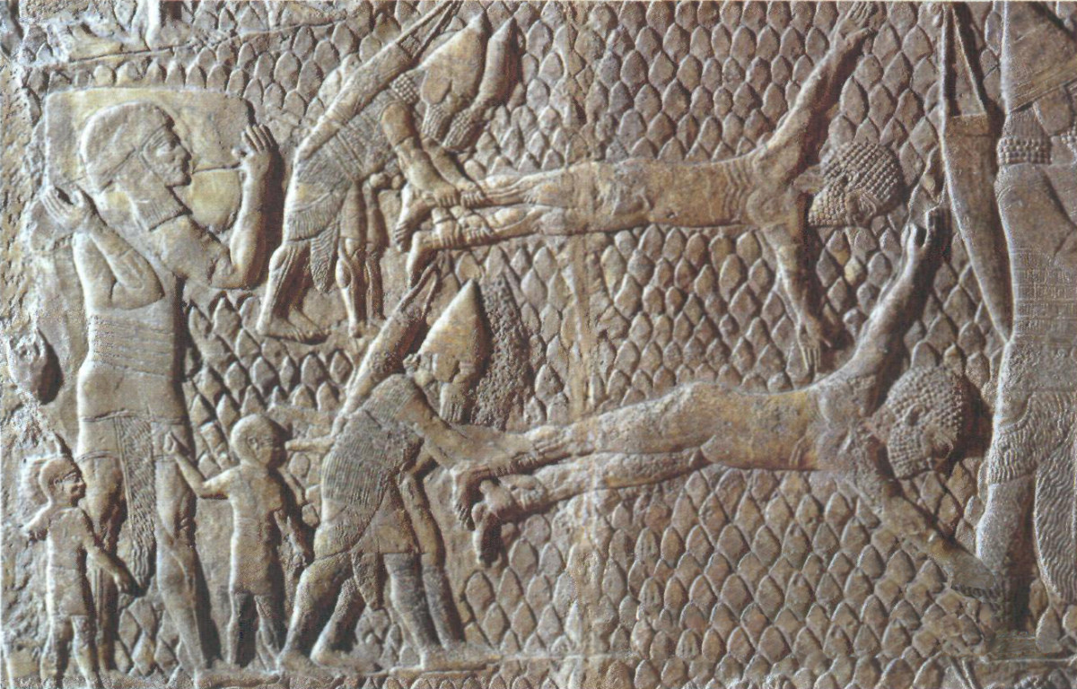 Assyrians skinning or flaying their prisoners alive