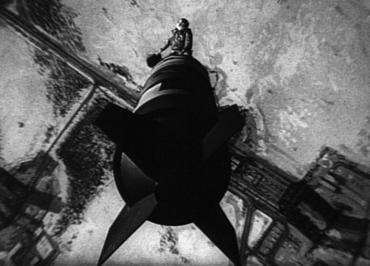 Bomber commander Major T. J. Kong riding the bomb in one of the most iconic scenes of the film.