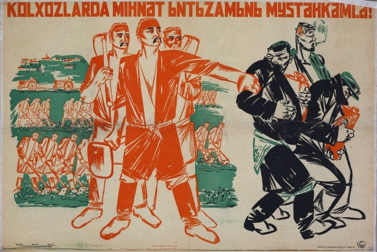 Soviet propaganda poster for its collectivization campaign.