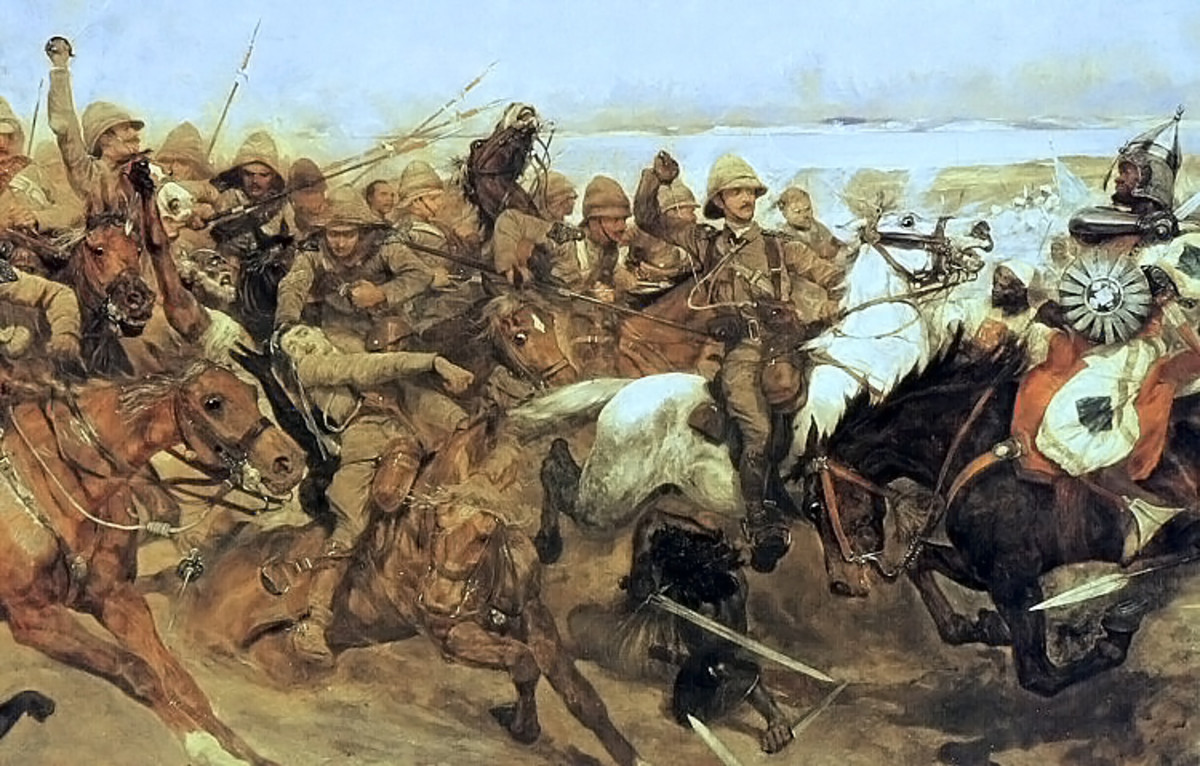 Depiction of the Battle of Omdurman (1898), by Robert Caton Woodville - this type of colonial warfare common to the British in the C19th, was in its decline by Omdurman. Modern warfare was on its way.