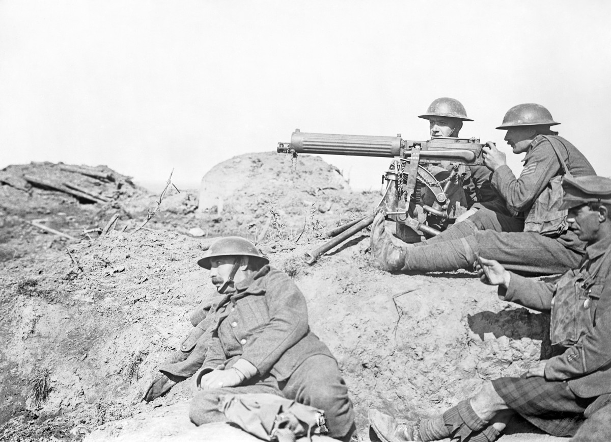 A Vickers machine gun crew in action at the Battle of the Menin Road Ridge, September 1917