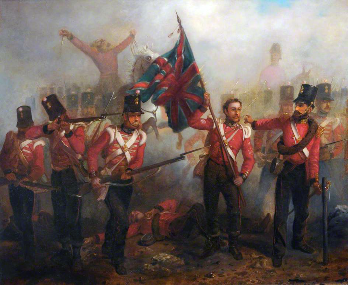 Sergeant Luke O'Conner Winning the Victoria Cross at the Battle of Alma (1854). Oil by Louis William Desanges.