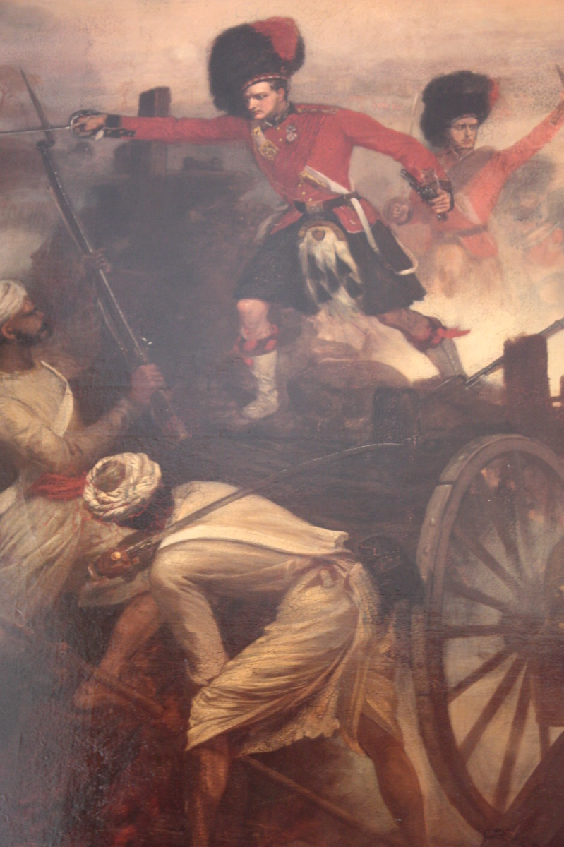 Lt Francis Farquharson of the 42nd 'Black Watch', winning his Victoria Cross at the Battle of Lucknow, 1858 by Louis William Desanges