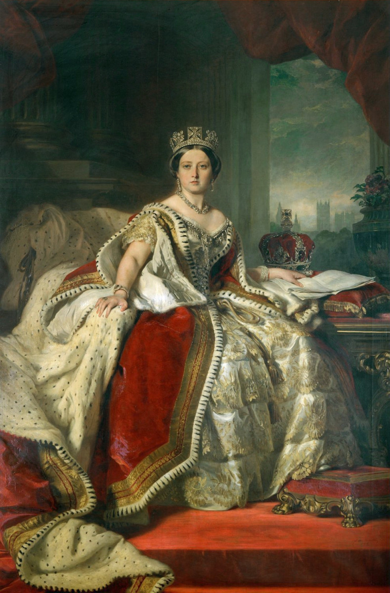 Under Queen Victoria's reign from 1837 to 1901, Great Britain would nearly quadruple in size, but also in world influence. Portrait by Winterhalter, 1859