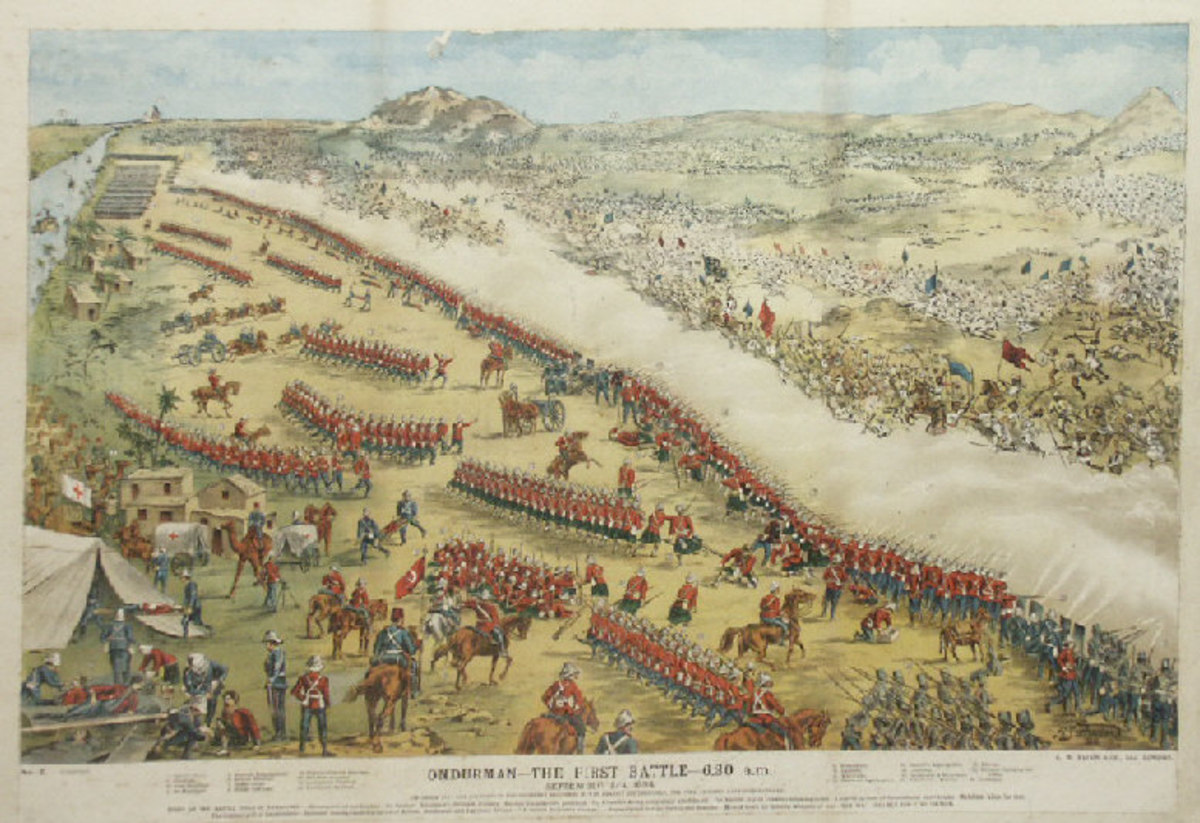 The Battle of Omdurman, 1898, from the Purton Museum, Wiltshire. This illustration depicts the British wearing the red home service uniforms to identify the different regiments involved. The regiments in the picture have a number printed with them an