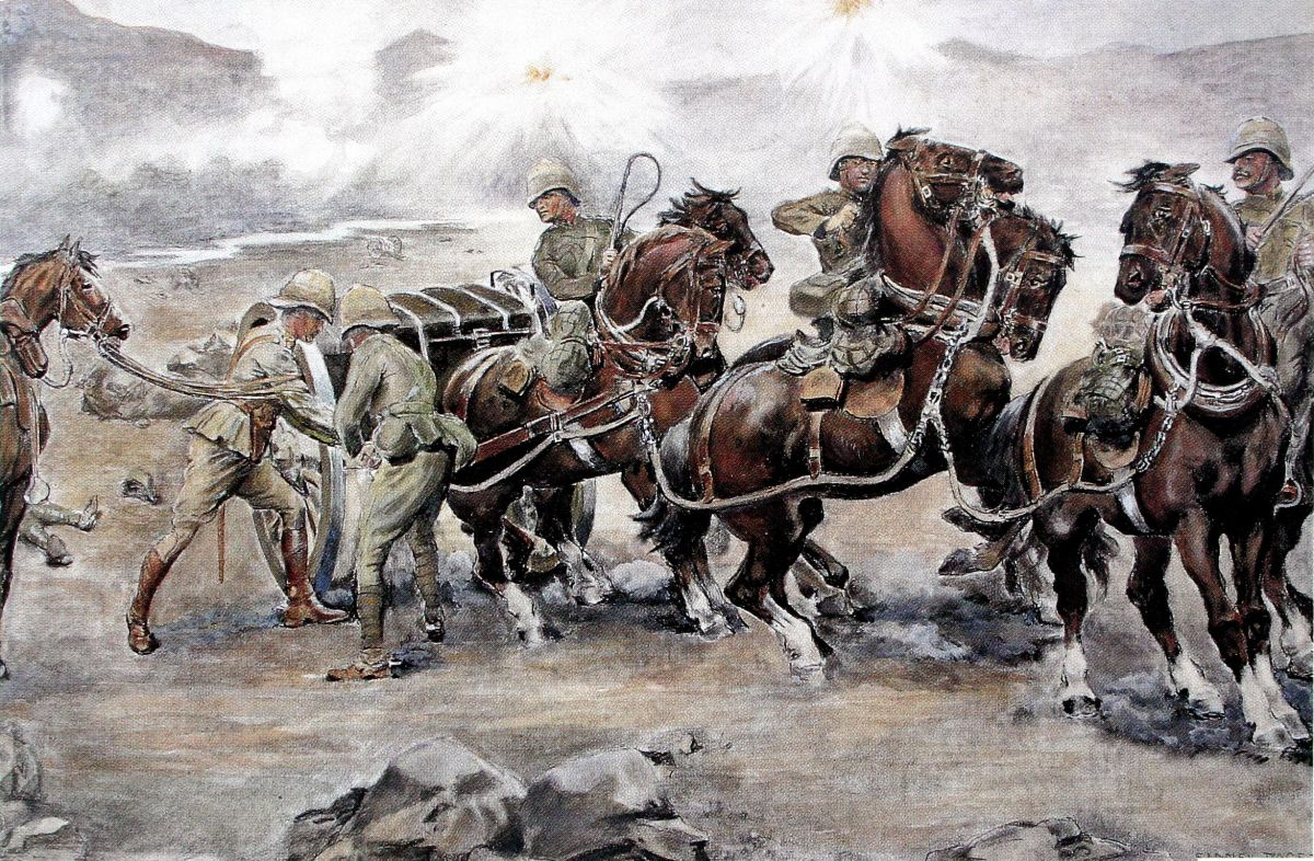 """Saving the guns at Colenso"" by Sidney Paget - Colenso, Modder River, and Spion Kop were all British losses to the Boers. Elandslaagte was a British victory where the British later conceded their grounds gained to the Boers only two days later."