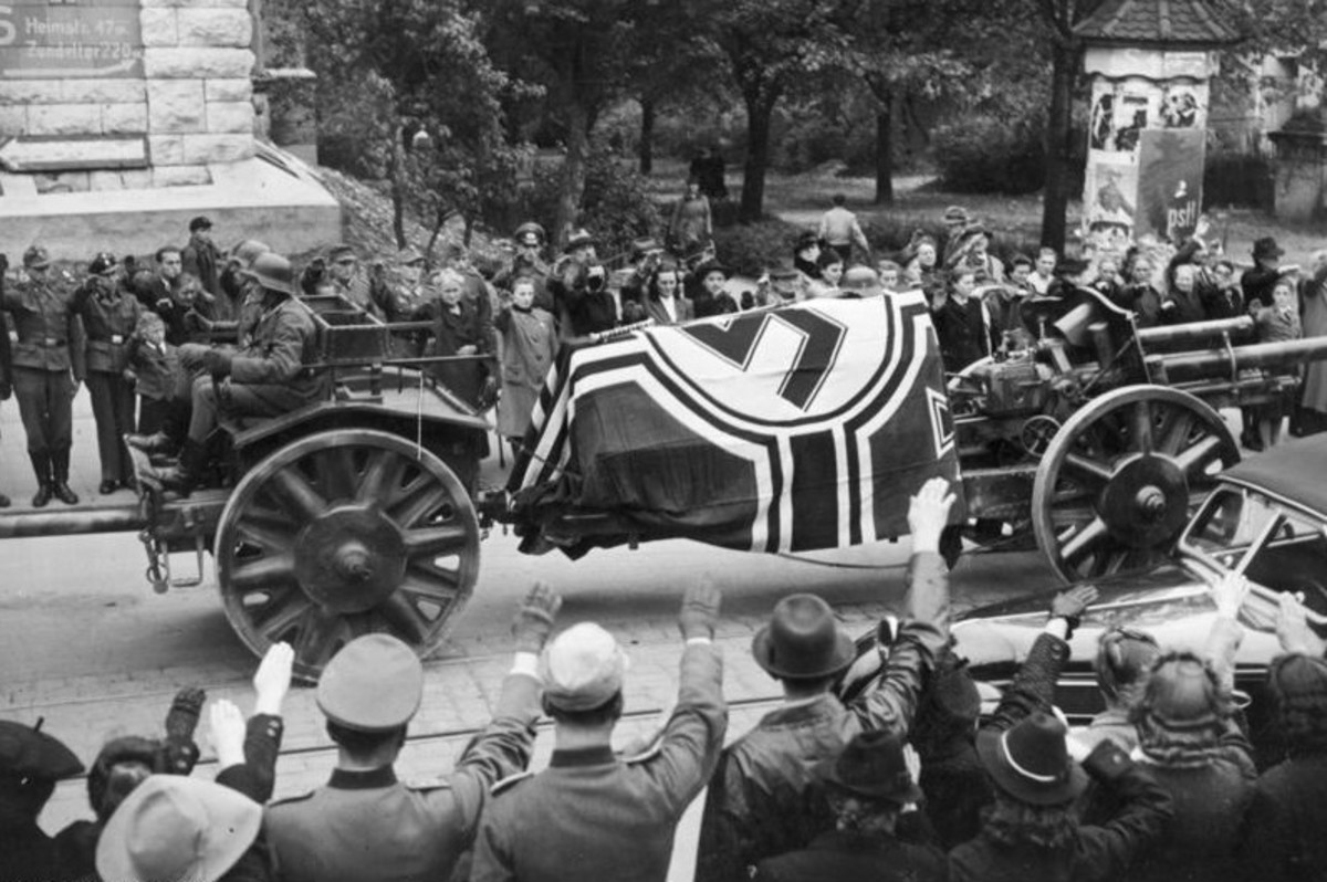 Funeral procession of Rommel, following his suicide. To cover-up his role in the plot to kill Hitler, the Nazis depicted Rommel as dying in battle on the Eastern Front.