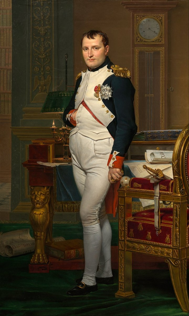 Napoleon Bonaparte; Hand in shirt was often used as a symbol of both a calm and firm leader during the 1800s.