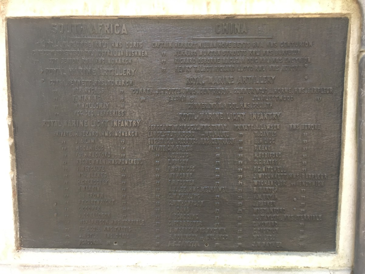 The names of those Royal Marines who died in Africa in China during the Boer War and Boxer Rebellion