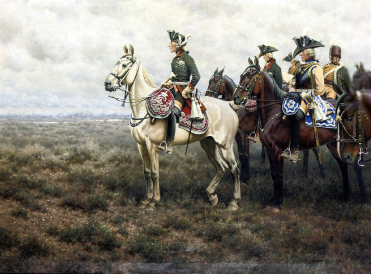 Frederick the Great (on white horse) leaned on stoicism through his military campaigns.