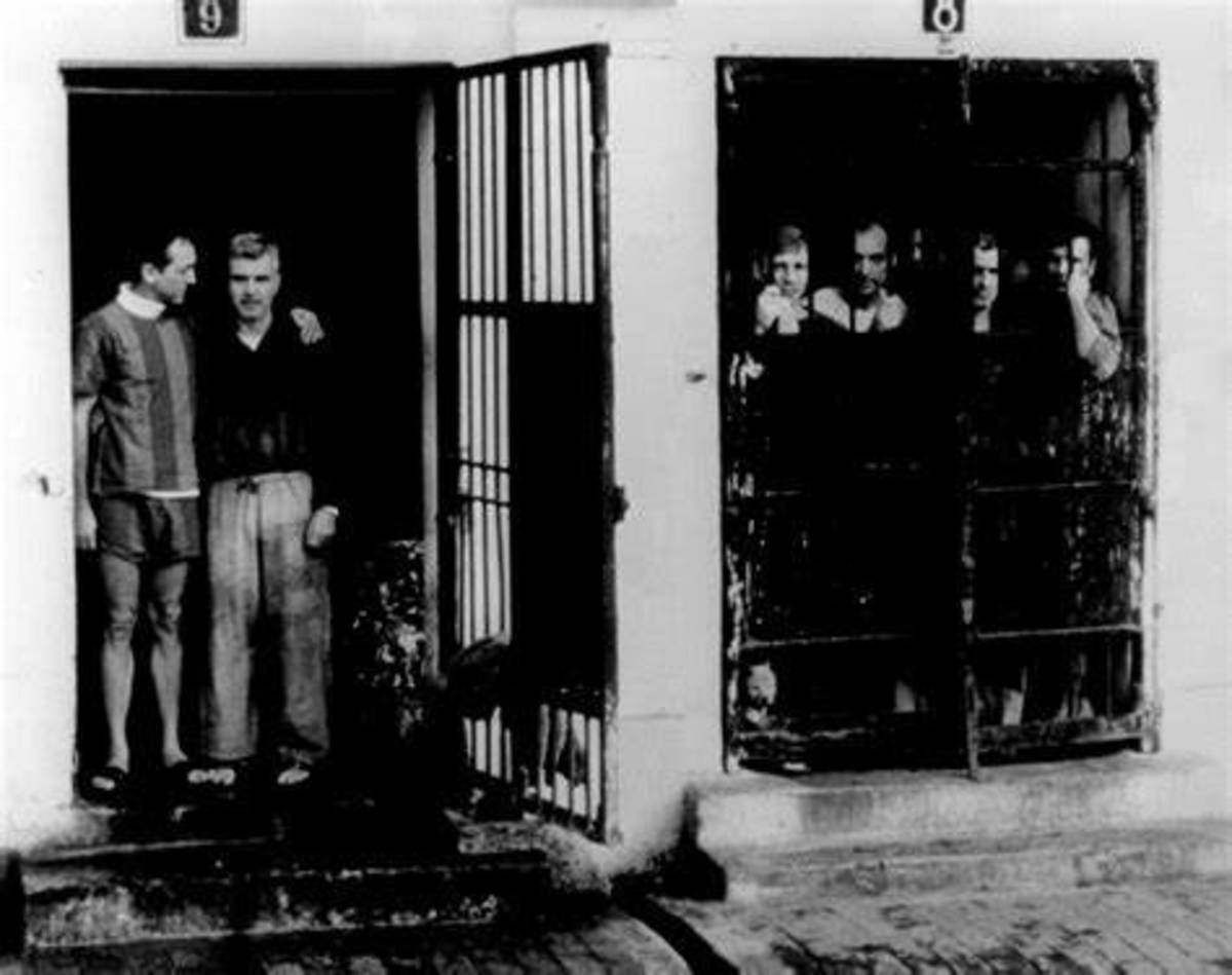 POWs at the Hanoi Hilton. L-R: Robinson Risner (USAF) and James Stockdale (USN), senior ranking officers shown just before release. Both had been captured in late 1965 and because of their fierce resistance, faced some of the worst torture.