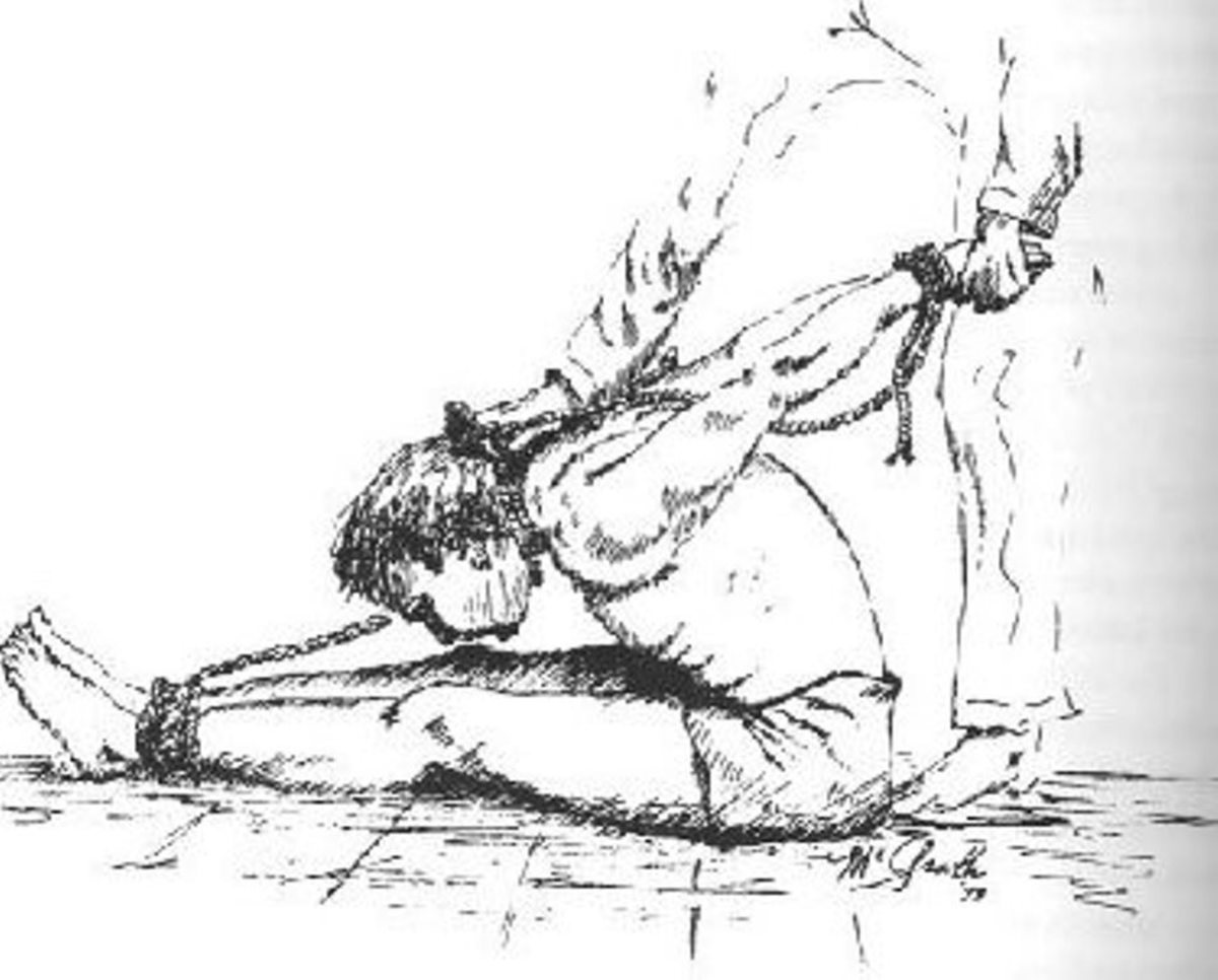 One of the many types of rope torture used by the North Vietnamese. The men's arms were usually pushed up and forward, attached to a hook in the ceiling.