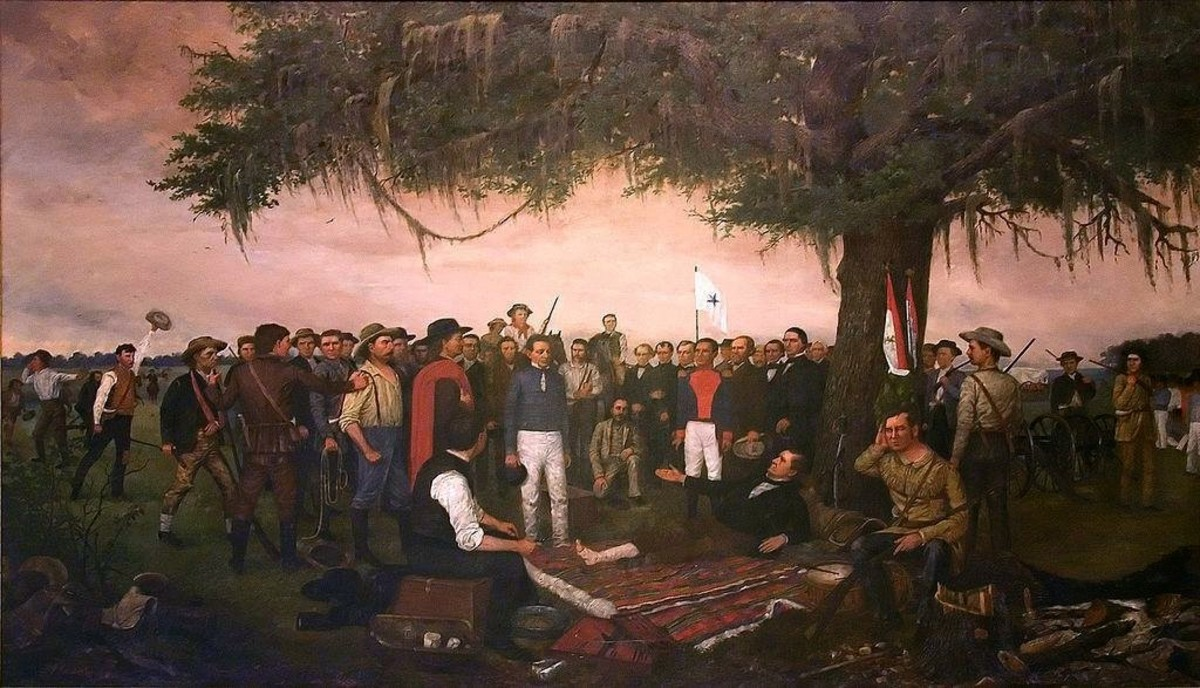 This 1886 painting of the surrender by Sana Ana to Sam Houston was done by William Henry Huddle and hangs in the Texas State Capital in Austin