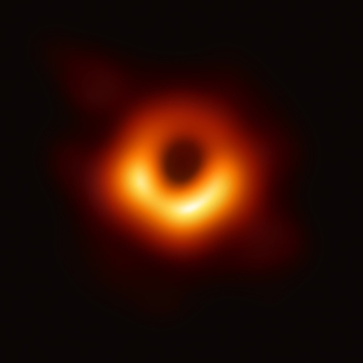 Up-close image of black hole at Messier 87. First photo of black hole ever taken.
