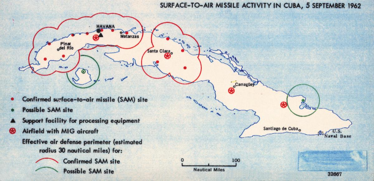Map of Cuban missile sites.