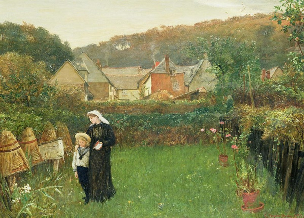 In Charles Napier Hemy's 1897 painting a widow and her son tell the bees about the death of their master.