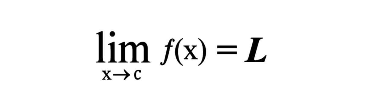 "This is expressed as ""The limit of f(x) as x approaches c, equals L""."