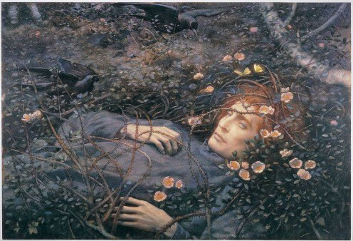 """""""Oh, What's That in the Hollow, so Pale I Quake to Follow?""""  Macabre Painting by Pre-Raphaelite Artist Edward Robert Hughes who was inspired by Christina Rossetti's poem """"Amor Mundi"""""""
