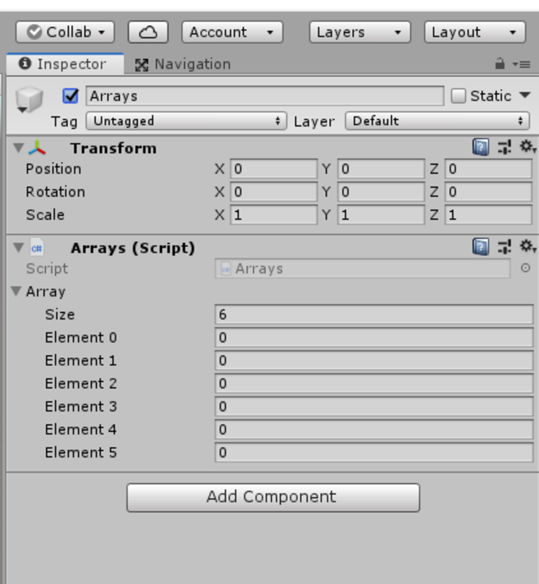 Making an array public or serialised in your code will allow you to edit in the Unity inspector.