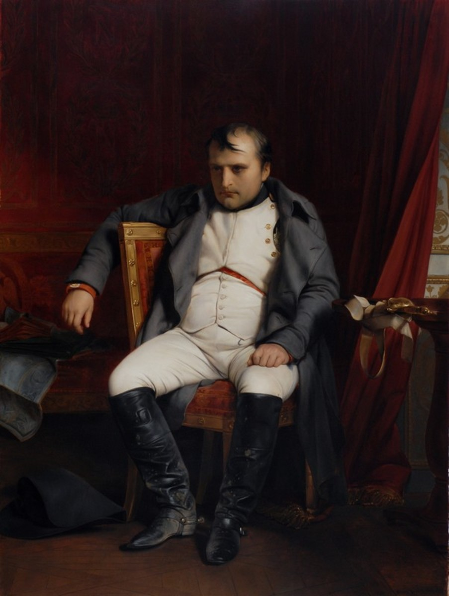Napoleon looking a bit gloomy after his abdication in 1845.