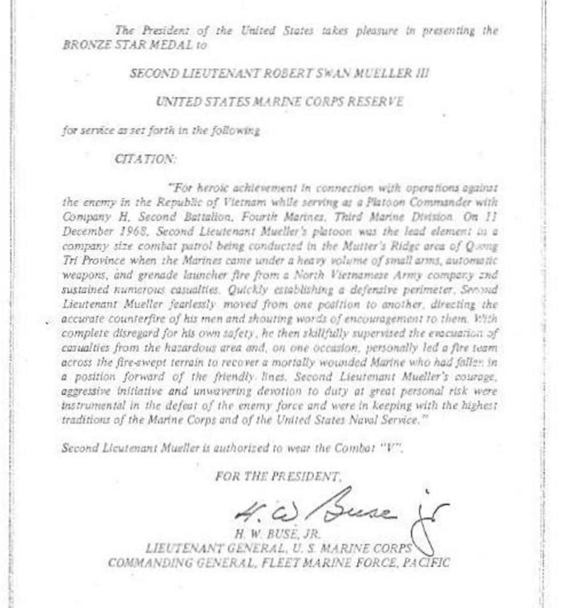 Lt. Mueller's Bronze Star Citation