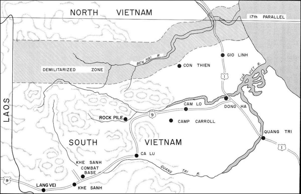 The 3rd Marine Division's area of operation.  Mutter's Ridge lies just northwest of Cam Lo.