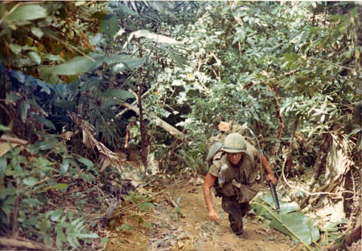 Typical Vietnamese terrain: mud, thick brush, and steep hills.