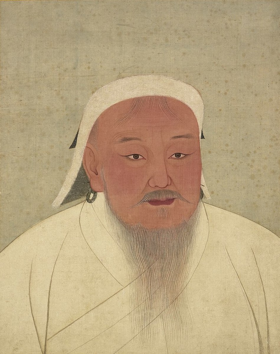 Early depiction of Genghis Khan, ruler of the Mongol Empire during the early Thirteenth Century. Under his rule, the Mongol Empire thrived militarily and politically.
