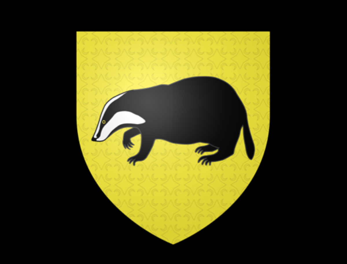 The crest of Hufflepuff House is a badger, symbolising hard work and loyalty.