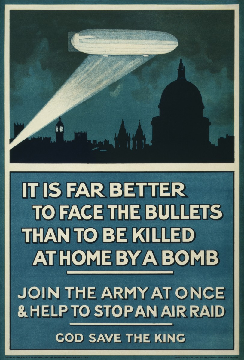 British First World War poster of a Zeppelin above London at night