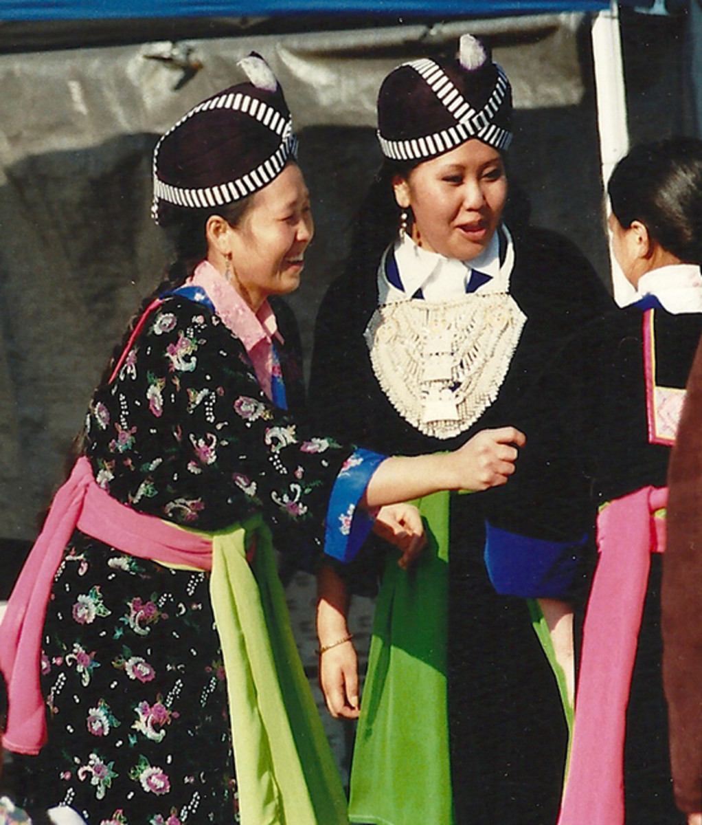 The distinctive dress of the Hmong women at the Chinese New Year Celebration.