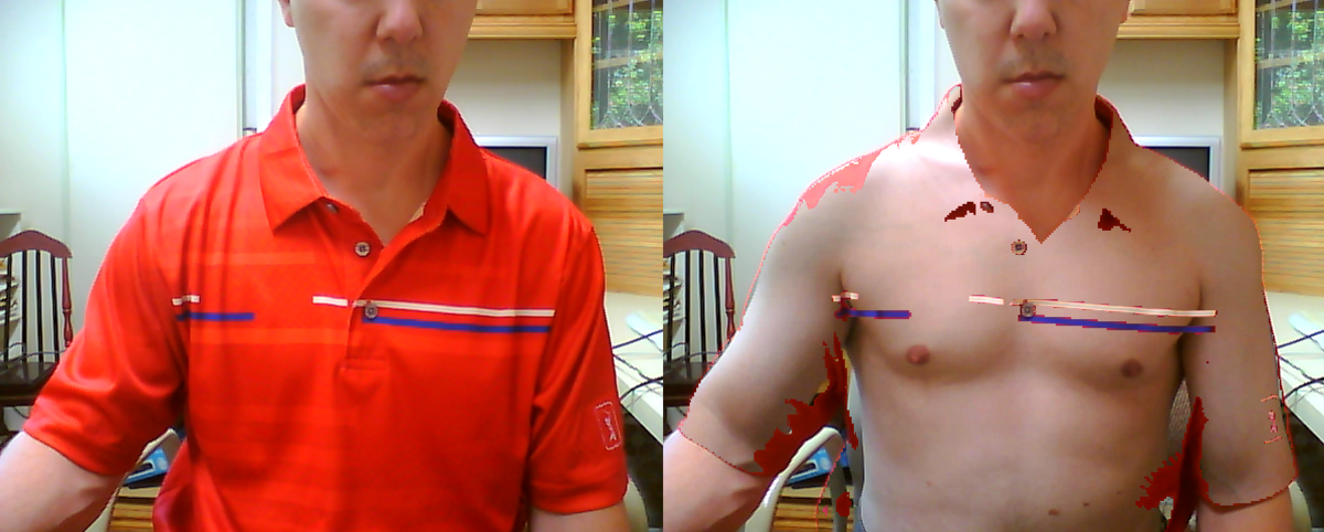 X-ray vision effect by making my shirt see-through.
