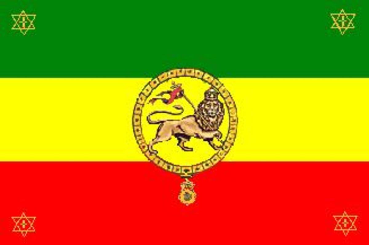 Jewish symbols are on the Ethiopian flag. This Ethiopian flag shows Ethiopia's claim to the Jewish lineage.  The lion is a Jewish royal symbol.  In each corner is the Star of David.