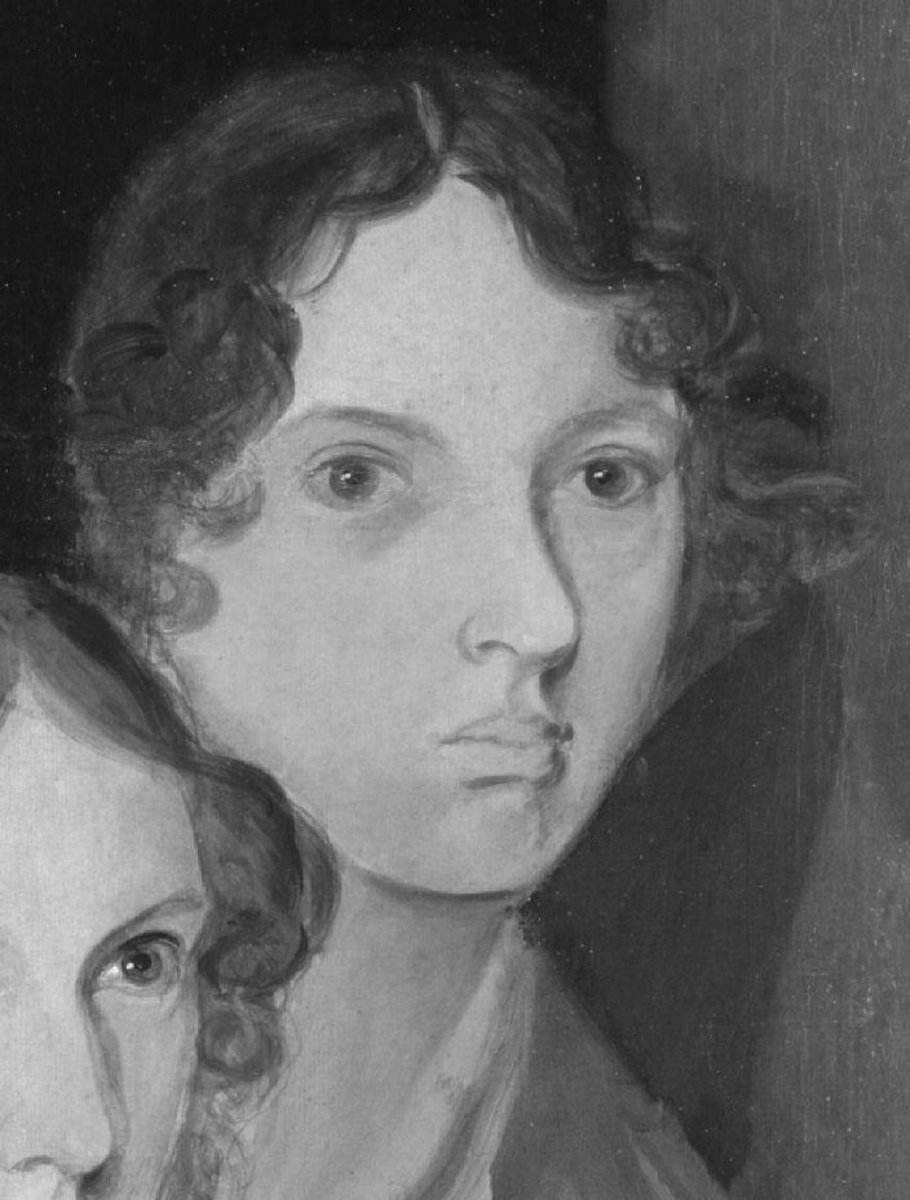 The only undisputed image of Emily Brontë, perhaps revealing her reaction to the tragically brief nature of life at her time,  and the anti-female bias she conformed to to get her work published.