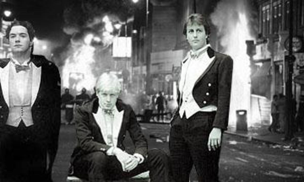 George Osborne, Boris Johnson, and David Cameron in Bullingdon regalia.