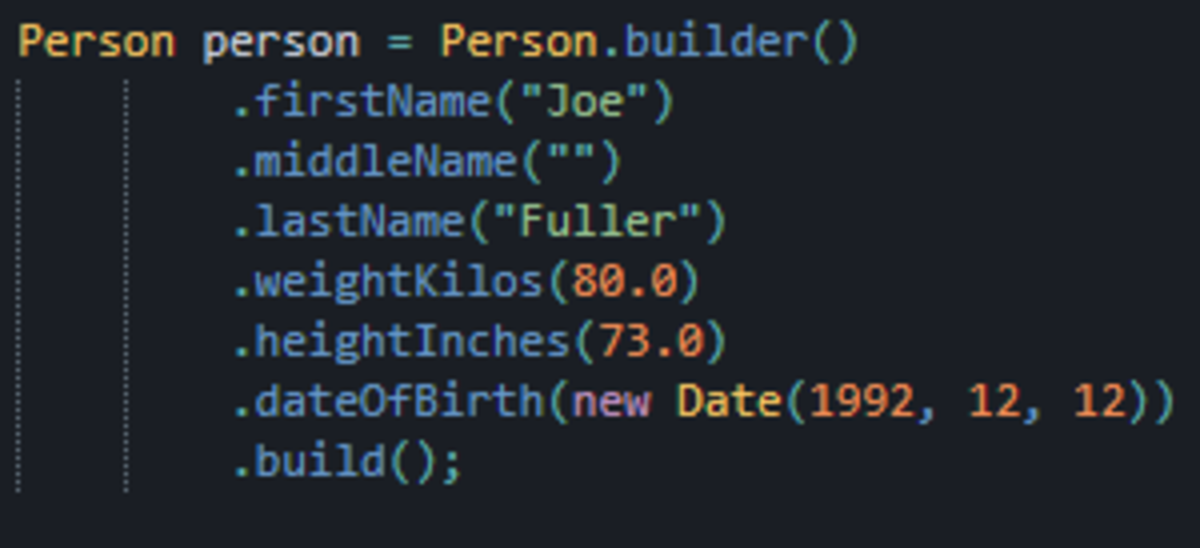 Declaring a Person instance using the builder is much cleaner, no more guessing what argument goes where.