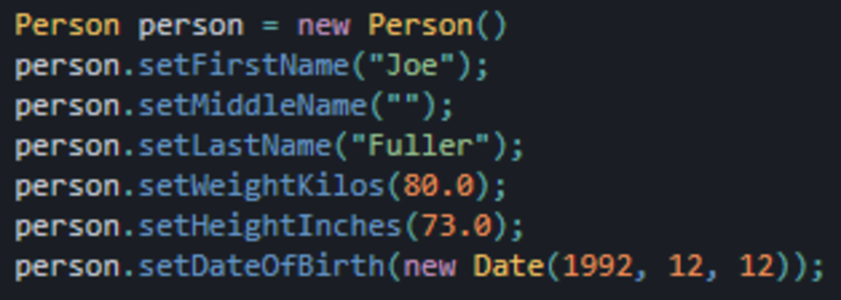 An example of using an empty constructor followed by setters to make parameter names more explicit.