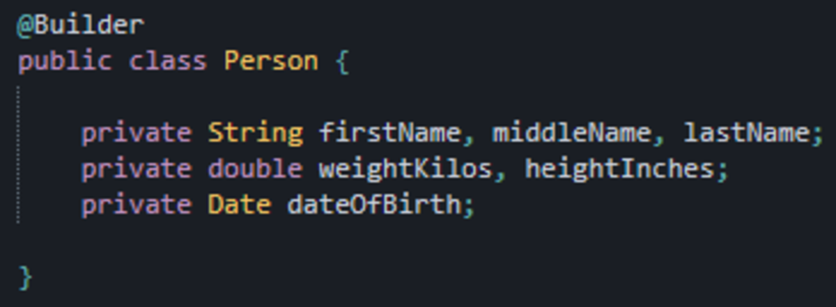 This has the exact same functionality as the previous builder pattern example, just with no boilerplate code to worry about thanks to Lombok.