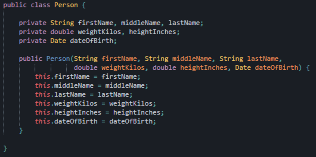 A bog-standard example of a Java class with six constructor aguments.