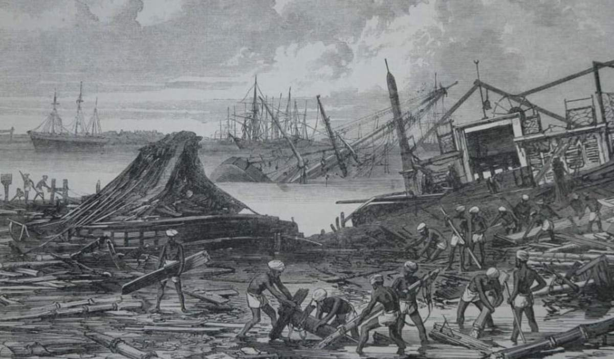1839 Coringa Cyclone (Artistic Depiction).  Following this disaster, the city of Coringa never again thrived as a major trading port.