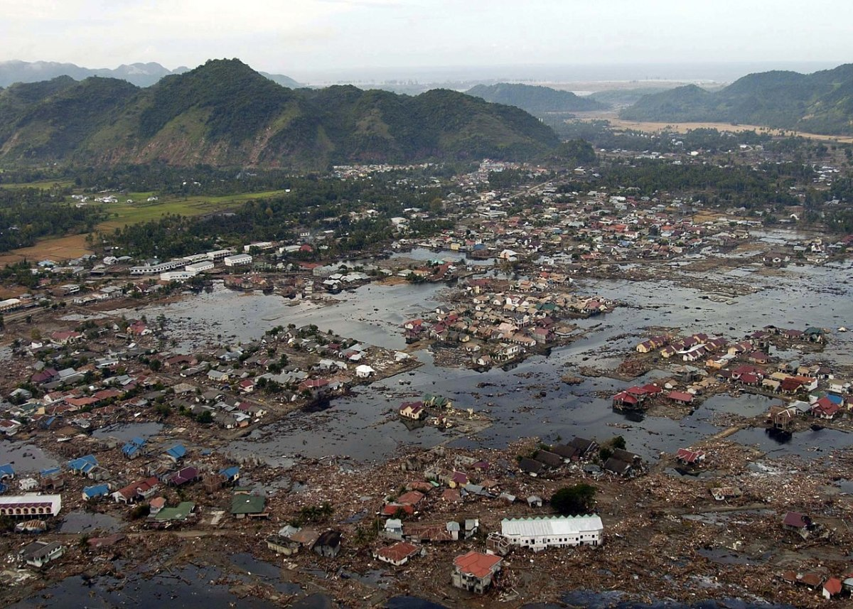 2004 Indian Ocean Earthquake and Tsunami.  Notice the extreme flooding caused by the large waves.