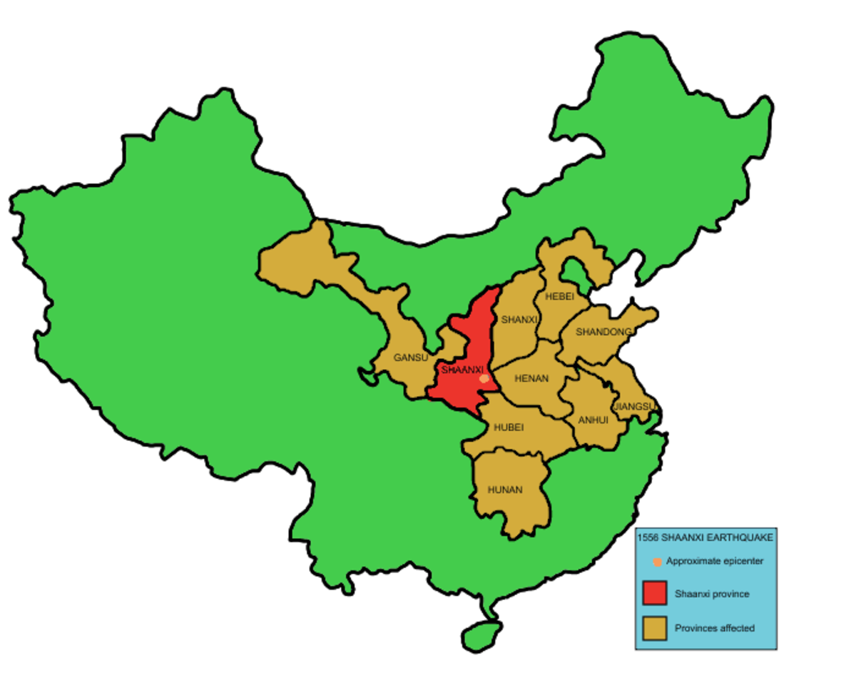 1556 Shaanxi Earthquake map of affected areas.