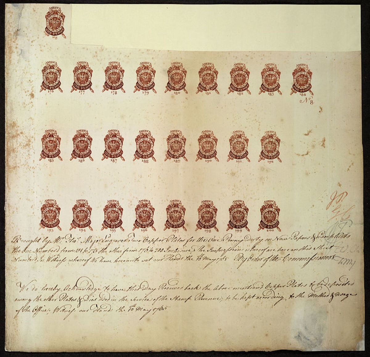 Engravers proof sheet for 1765 tax stamps.