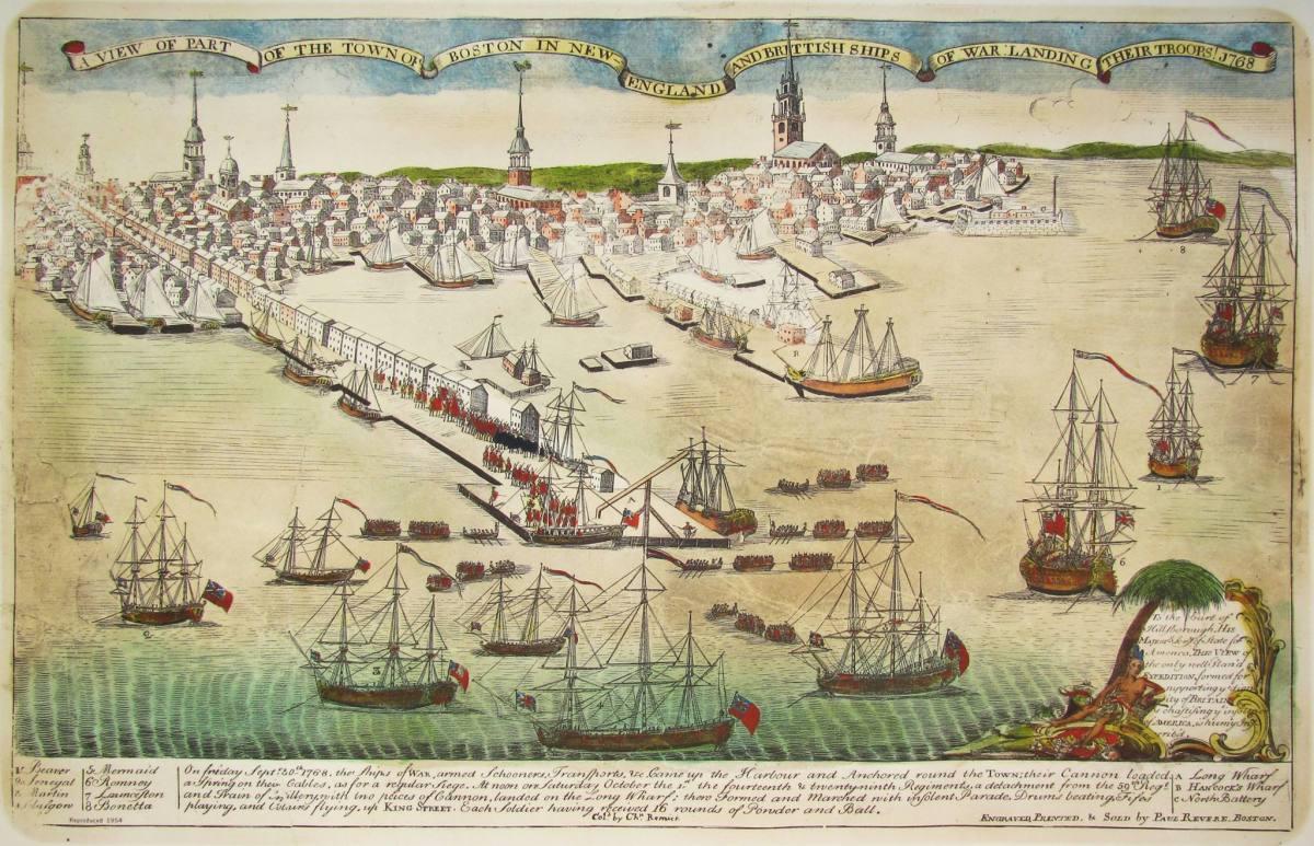 British ships in Boston Harbor 1768.
