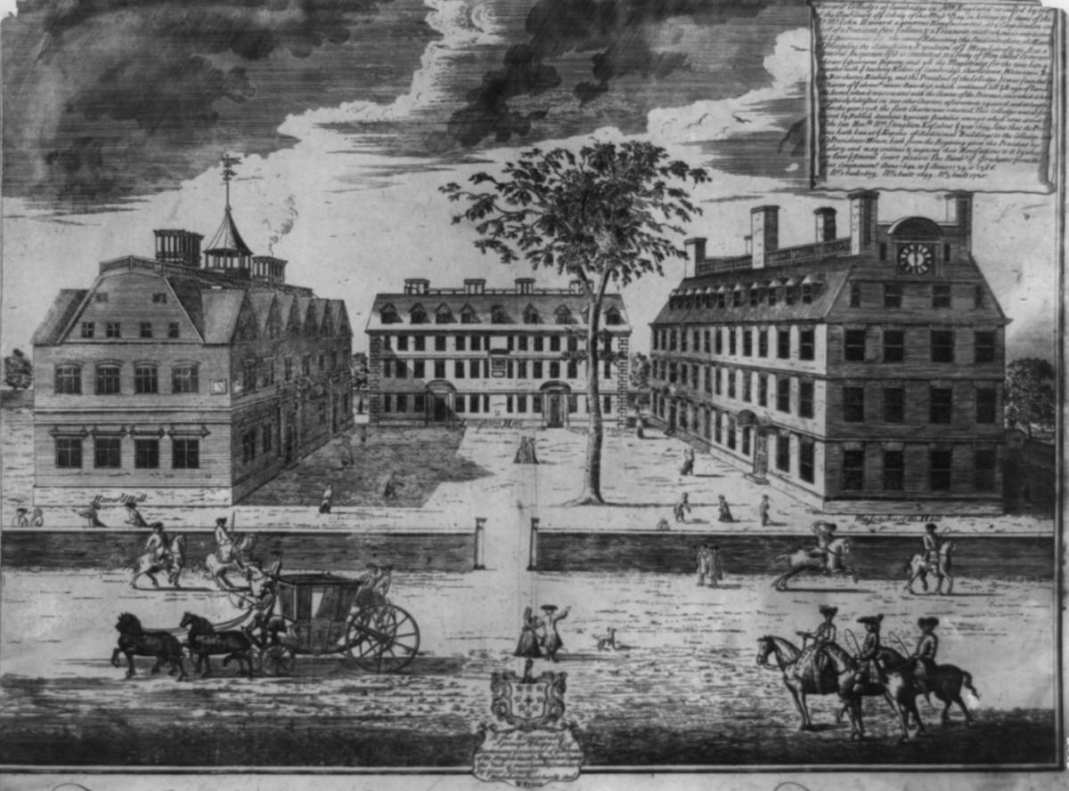 Harvard College circa 1740.