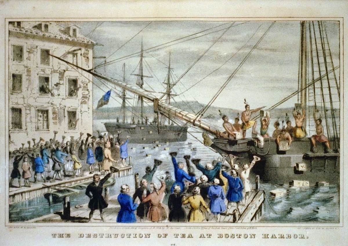 """Boston Tea Party. 1846 lithograph by Nathaniel Currier was entitled The Destruction of Tea at Boston Harbor; the phrase """"Boston Tea Party"""" had not yet become standard."""
