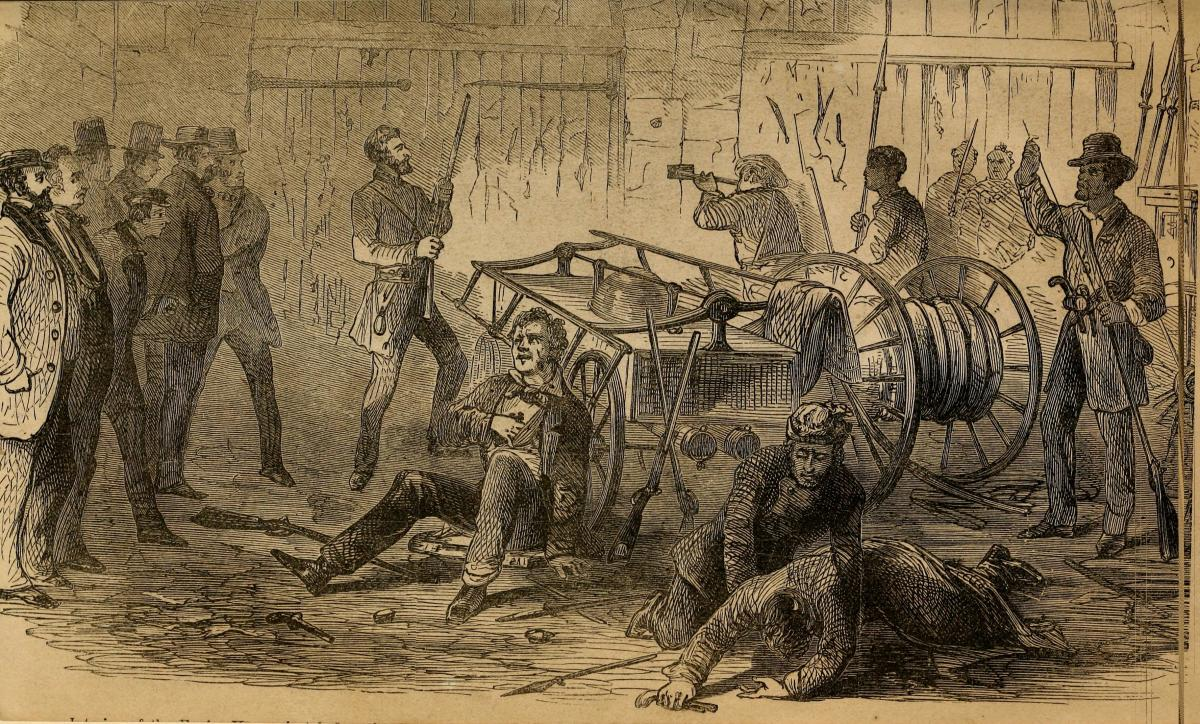 Drawing depicting John Brown and his band with hostages just before the marines break down the door of the engine house.