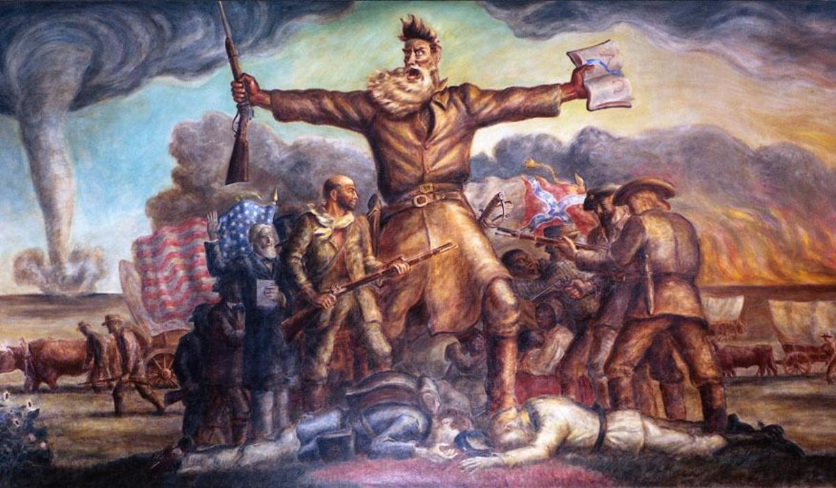 The artist John Steuart Curry's interpretation of John Brown and the antislavery movement in Kansas Territory on a mural at the Kansas State Capitol Building in Topeka, Kansas.