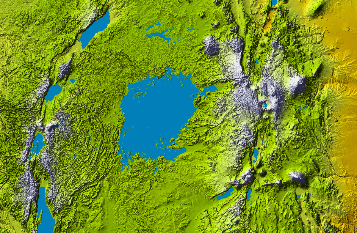 Topographical map of Lake Victoria