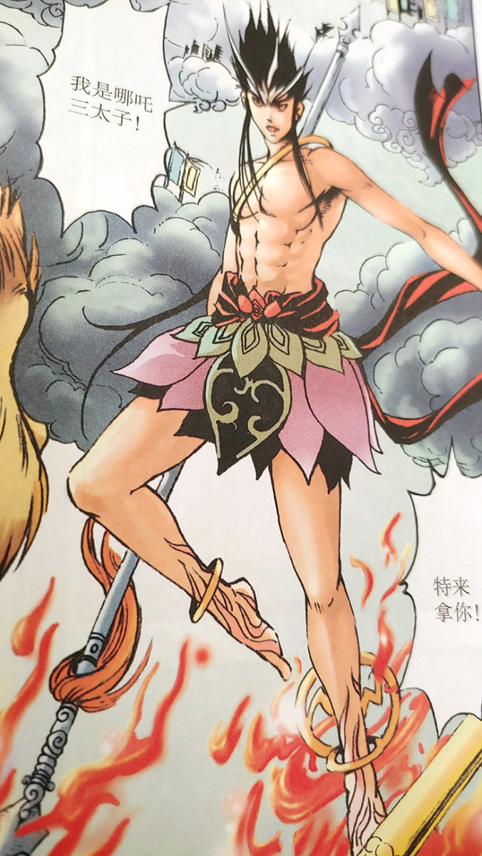 Comic illustration of Nezha the Third Prince by Chinese artist Peng Chao.